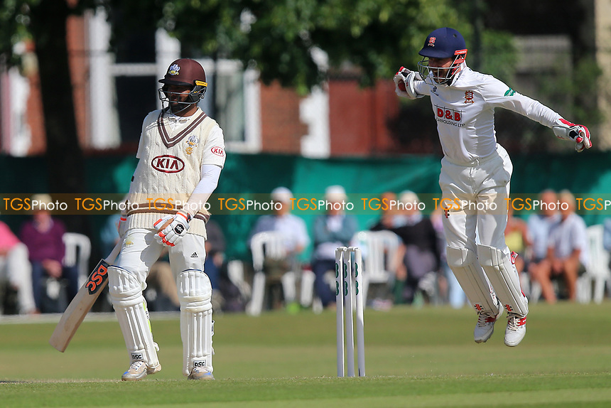 Delight for James Foster of Essex as he takes a catch to dismiss Kumar Sangakkara from the bowling of Simon Harmer during Surrey CCC vs Essex CCC, Specsavers County Championship Division 1 Cricket at Guildford CC, The Sports Ground on 11th June 2017