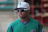 Beloit Snappers third baseman Miguel Sano #33 during a game against the Kane County Cougars at Fifth Third Bank Ballpark on June 26, 2012 in Geneva, Illinois. Beloit defeated Kane County 8-0. (Brace Hemmelgarn/Four Seam Images)