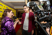"""AUSTIN, TX- MARCH 8: Beanie Feldstein is interviewed by Ian de Borja with IMDB as she attends the SXSW world premiere of FX's """"What We Do in the Shadows"""" at the Paramount Theater on March 8, 2019 in Austin, Texas. (Photo by Stephen Spillman/FX/PictureGroup)"""