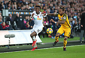 4th November 2017, Liberty Stadium, Swansea, Wales; EPL Premier League football, Swansea City versus Brighton and Hove Albion; Tammy Abraham of Swansea City beats Gaetan Bong of Brighton down the wing