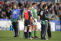 Ireland's Matthew Nelson is injured during the Division A clash against Scotland in the U19 World Championship at Ravenhill.