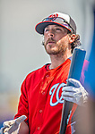 23 February 2013: Washington Nationals infielder Will Rhymes awaits his turn in the batting cage prior to a Spring Training Game against the New York Mets at Tradition Field in Port St. Lucie, Florida. The Mets defeated the Nationals 5-3 in their Grapefruit League Opening Day game. Mandatory Credit: Ed Wolfstein Photo *** RAW (NEF) Image File Available ***
