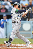 Lexington Legends Enrique Hernandez #24 swings at a pitch during a game against  the Lexington Legends at McCormick Field in Asheville,  North Carolina;  April 16, 2011. Lexington defeated Aheville 13-7.  Photo By Tony Farlow/Four Seam Images