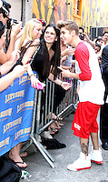 June 20, 2012: Justin Bieber arrives for his soundcheck at the Ed Sullivan Theater for his appearance on Late Show with David Letterman in New York City. &copy; RW/MediaPunch Inc. NORTEPHOTO.<br />