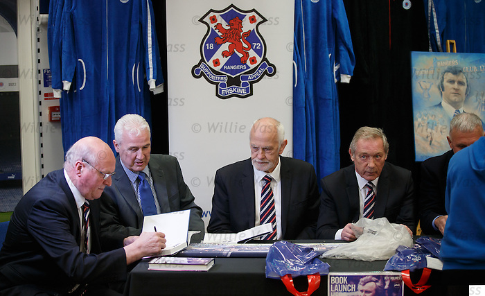 """Colin Stein, John MacDonald, Colin Jackson and Willie Johnston signing copies of the Jock Wallace book """"Blue Thunder"""" at the Rangers Megastore"""