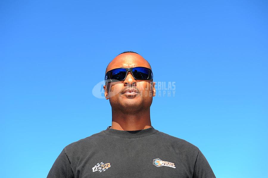 Aug. 21, 2011; Brainerd, MN, USA: NHRA top fuel dragster driver Antron Brown during the Lucas Oil Nationals at Brainerd International Raceway. Mandatory Credit: Mark J. Rebilas-