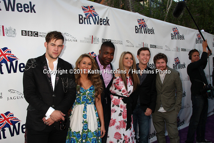 LOS ANGELES - APR 26:  James Durbin, Haley Reinhart, Jacob Lusk, Lauren Alaina, Scotty McCreery, Casey Abrams arriving at the 5th Annual BritWeek Launch Party at British Consul General's residence on April 26, 2011 in Los Angeles, CA..
