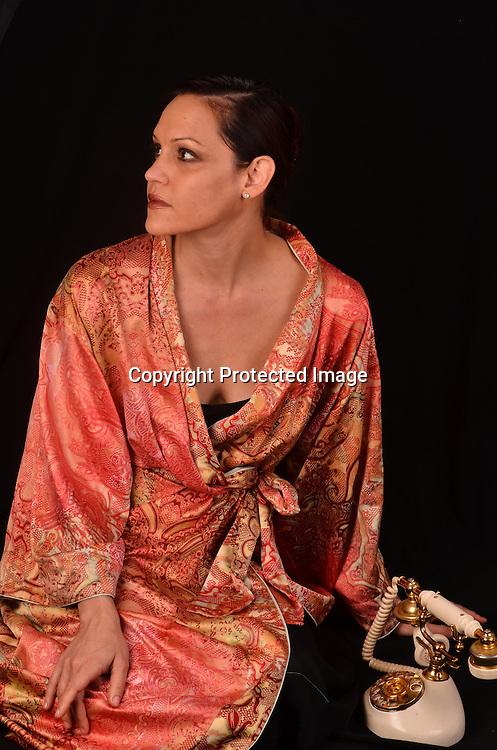 Stock Photo of Woman in silk robe