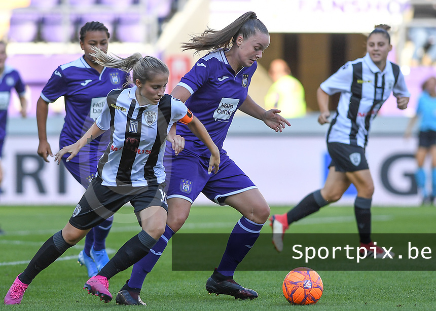 20190807 - ANDERLECHT, BELGIUM : Anderlecht's Tine De Caigny pictured in a fight for the ball with PAOK's Thomai Vardali (left) during the female soccer game between the Belgian RSCA Ladies – Royal Sporting Club Anderlecht Dames  and the Greek FC PAOK Thessaloniki ladies , the first game for both teams in the Uefa Womens Champions League Qualifying round in group 8 , Wednesday 7 th August 2019 at the Lotto Park Stadium in Anderlecht  , Belgium  .  PHOTO SPORTPIX.BE | DAVID CATRY
