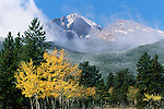 low clouds accent Longs Peak from Tahosa Valley, autumn morning in the Rocky Mountains,  Colorado, USA