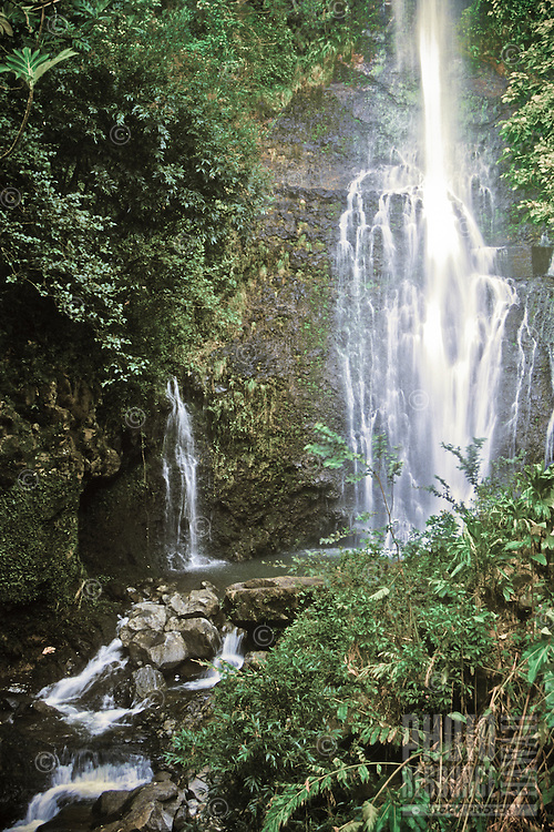 Hana waterfall on the road to oheo gulch, Maui