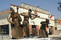 Musical statues outside ship departure port, Venice, Italy.