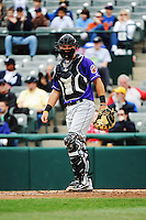Akron Aeros catcher Jeremy Lucas (9) during game against the Trenton Thunder at ARM & HAMMER Park on April 17, 2013 in Trenton, New Jersey.  Akron defeated Trenton 10-6.  Tomasso DeRosa/Four Seam Images