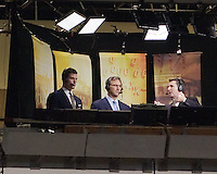 ESPN announcers Jesse Palmer(left), Craig James (center) and Rece Davis.The Pitt Panthers defeated the USF Bulls 44-17 on September 29, 2011 at Heinz Field in Pittsburgh Pennsylvania.