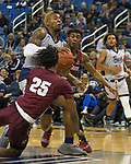 Nevada forward Jordan Caroline  drives the lane against Little Rock in the second half of an NCAA college basketball game in Reno, Nev., Friday, Nov. 16, 2018. (AP Photo/Tom R. Smedes)