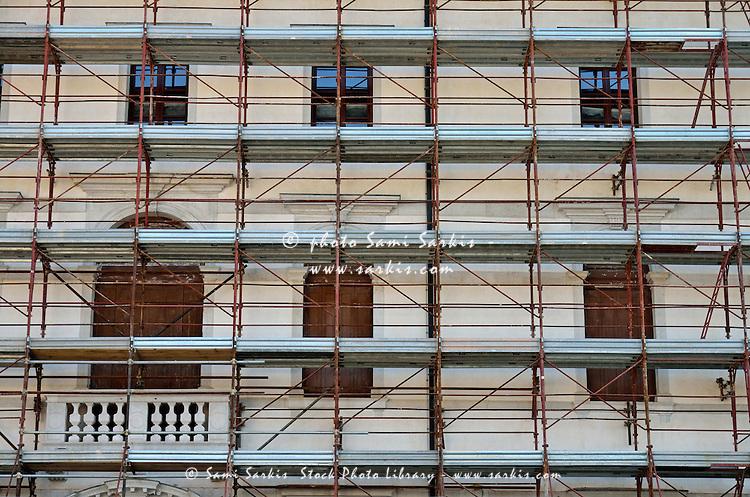 Scaffolding on building facade, Venice, Italy