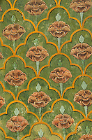 Patterns painted on the walls of the Jaipur City Palace, Jaipur, Rajasthan, India.