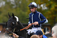 Jockey Adam Beschizza onboard Robbie Roo Roo in the parade ring during Bathwick Tyres Reduced Admission Race Day at Salisbury Racecourse on 9th October 2017
