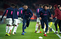 Alexandre Lacazette & Mohamed Elneny of Arsenal pre match during the UEFA Europa League match between Arsenal and Qarabag FK at the Emirates Stadium, London, England on 13 December 2018. Photo by Andy Rowland.
