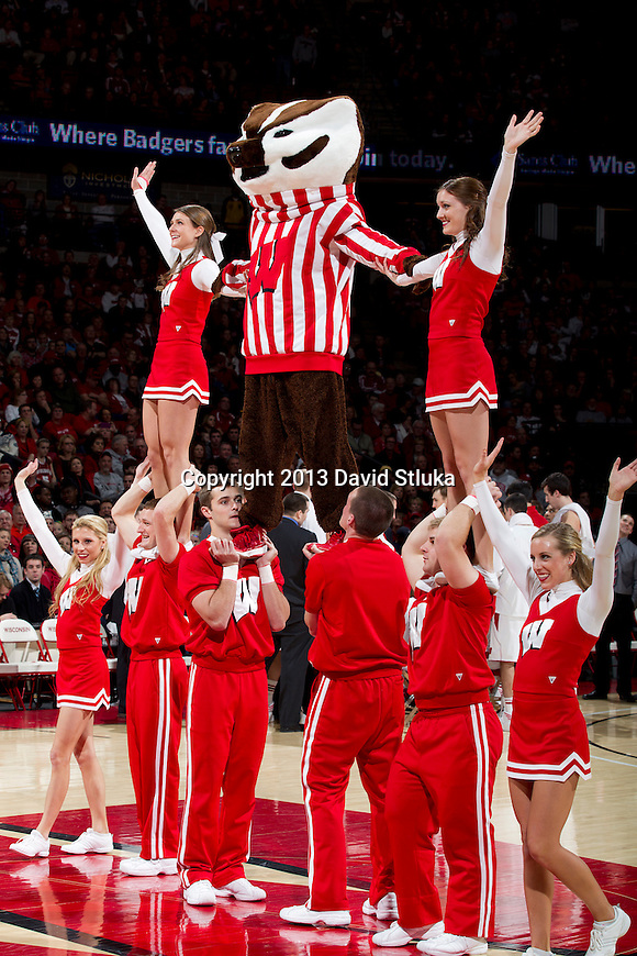 Wisconsin Badgers mascot Bucky Badger and the cheerleaders perform during an NCAA Big Ten Conference college basketball game against the Illinois Fighting Illini Saturday, January 12, 2013 in Madison, Wis. The Badgers won 74-51. (Photo by David Stluka)