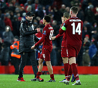 Liverpool manager Jurgen Klopp greets Trent Alexander-Arnold at the final whistle<br /> <br /> Photographer Rich Linley/CameraSport<br /> <br /> UEFA Champions League Round of 16 First Leg - Liverpool and Bayern Munich - Tuesday 19th February 2019 - Anfield - Liverpool<br />  <br /> World Copyright © 2018 CameraSport. All rights reserved. 43 Linden Ave. Countesthorpe. Leicester. England. LE8 5PG - Tel: +44 (0) 116 277 4147 - admin@camerasport.com - www.camerasport.com