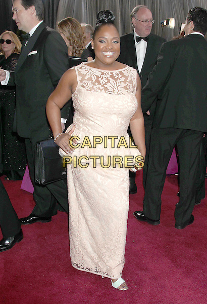 Sherri Shepherd.85th Annual Academy Awards held at the Dolby Theatre at Hollywood & Highland Center, Hollywood, California, USA..February 24th, 2013.oscars full length white pink peplum sleeveless lace dress hand on hip gold clutch bag.CAP/ADM/RE.©Russ Elliot/AdMedia/Capital Pictures.