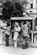 New York, New York USA, June 1979 - French singer Sylvie Vartan uses a payphone while in New York City to promote her first American album.
