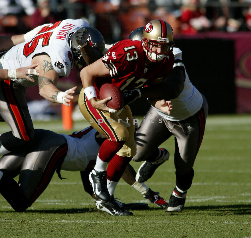 SHAUN HILL, of the San Francisco 49ers  in action during the 49ers game against the Tampa Bay Buccaneers on December 23, 2007 in San Francisco, California...49ER win 27-7..SportPics