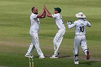 Joe Leach celebrates taking the wicket of Essex batsman Peter Siddle during Worcestershire CCC vs Essex CCC, Specsavers County Championship Division 1 Cricket at New Road on 13th May 2018