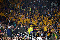 Australia supporters in the crowd celebrate late in the game. Rugby World Cup Pool A match between England and Australia on October 3, 2015 at Twickenham Stadium in London, England. Photo by: Patrick Khachfe / Onside Images