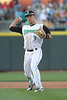 Dayton Dragons second baseman Ryan Wright #9 throws during a game against the Lake County Captains at Fifth Third Field on June 25, 2012 in Dayton, Ohio. Lake County defeated Dayton 8-3. (Brace Hemmelgarn/Four Seam Images)