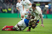 Twickenham, United Kingdom. 7th February, Courtnt Lawes tackled by Yacouba CAMERA, during the England vs France, 2019 Guinness Six Nations Rugby Match   played at  the  RFU Stadium, Twickenham, England, <br /> &copy; PeterSPURRIER: Intersport Images