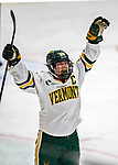9 February 2020: University of Vermont Catamount Forward Ève-Audrey Picard, a Senior from Longueuil, Québec, celebrates a third period goal against the University of Connecticut Huskies at Gutterson Fieldhouse in Burlington, Vermont. The Lady Cats defeated the Huskies 6-2 in the second game of their weekend Hockey East series. Mandatory Credit: Ed Wolfstein Photo *** RAW (NEF) Image File Available ***