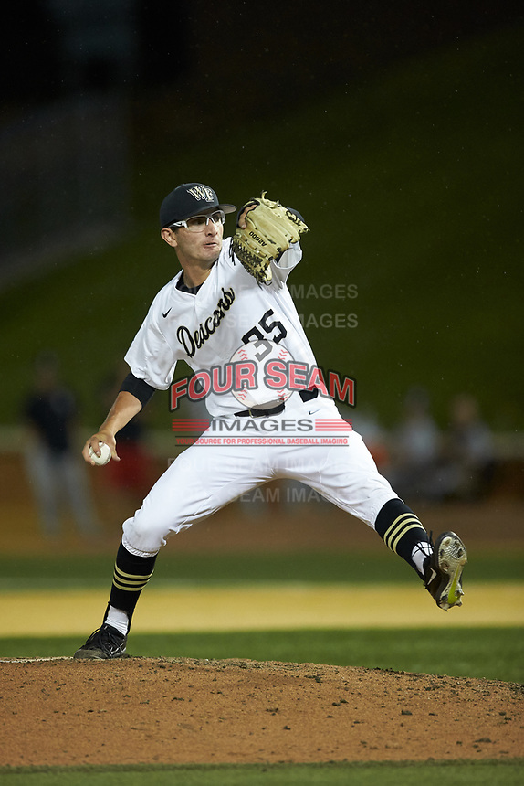 Wake Forest Demon Deacons relief pitcher Morgan McSweeney (35) in action against the Davidson Wildcats at David F. Couch Ballpark on May 7, 2019 in  Winston-Salem, North Carolina. The Demon Deacons defeated the Wildcats 11-8. (Brian Westerholt/Four Seam Images)