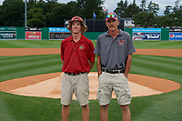 Batavia Muckdogs grounds staff Cooper Thomson (left) and Joe Mogavero (right) are honored for Field of the Year before a NY-Penn League Semifinal Playoff game against the Lowell Spinners on September 4, 2019 at Dwyer Stadium in Batavia, New York.  Batavia defeated Lowell 4-1.  (Mike Janes/Four Seam Images)