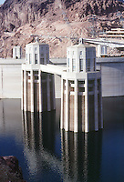 HOOVER DAM<br /> Intake Towers<br /> <br /> Reinforced concrete structures which control the supply of water to the  powerplant turbines
