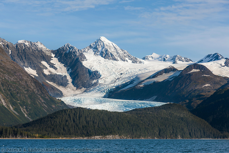 Glacier flows out of the Chugach mountains, Passage Canal, Prince William Sound, Alaska.