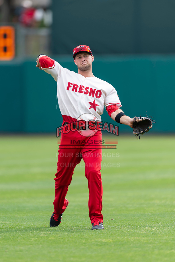 Fresno Grizzlies shortstop Carter Kieboom (8) warms up before a game against the Reno Aces at Chukchansi Park on April 8, 2019 in Fresno, California. Fresno defeated Reno 7-6. (Zachary Lucy/Four Seam Images)