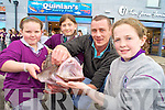 Christal Abraham, Kerri Ni? Mhaoldhomhnaigh and Siobhan Ni? Bhraoin, Gaelscoil Cill Airne, pictured with Fintan Quinlan, Quinlans Fish, Killarney, during their fish education day as part of the Comenius European Education project, on Wednesday.....