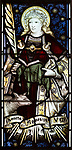 Mary Anne Garrett Memorial stained glass window  female martyrs 1897, Church of Saint Margaret, Leiston, Suffolk, England, UK  Saint Agnes by C.E. Kempe ( 1837-1907)