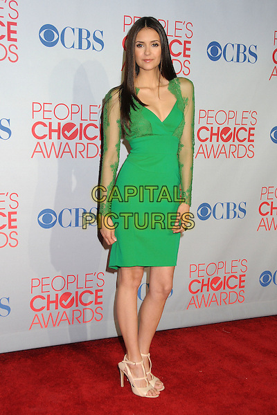 Nina Dobrev.2012 People's Choice Awards - Press Room held at Nokia Theatre L.A. Live, Los Angeles, California, USA.  .January 11th, 2012.full length green dress lace .CAP/ADM/BP.©Byron Purvis/AdMedia/Capital Pictures.