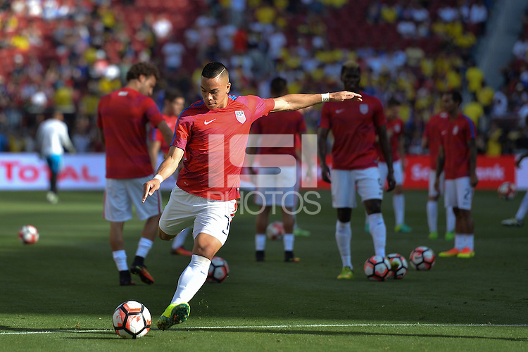 Santa Clara, CA - Friday June 03, 2016: United States forward Bobby Wood (7) prior to a Copa America Centenario Group A match between United States (USA) and Colombia (COL) at Levi's Stadium.