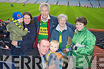 Front Tom and Thomas Higgins Back Eoin Higgins, Jackie Moran, Denis Fitzgerald, Mary Brick Moran and Bernie Moran Castkegregory fans at the All Ireland Junior Club Championship at Croke park on Sunday....