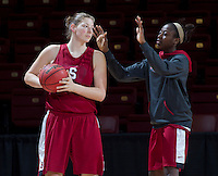 Stanford, CA., March 25, 2013,--  Tess Picknell  and Chiney Ogwumike, both with the Stanford women's basketball team workout during team practice Monday, March 25, 2013, for there second round NCAA 2013, basketball championship game against Michigan, at Maples Pavilion.  ( Norbert von der Groeben )