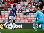 Clayton Donaldson of Sheffield Utd grabs his hamstring as he celebrates scoring the second goal during the Championship match at the Stadium of Light, Sunderland. Picture date 9th September 2017. Picture credit should read: Simon Bellis/Sportimage