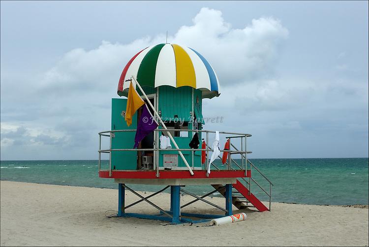 Art Deco Lifeguard Hut.on South Beach Miami, Florida.08-26-2005.Photo by © Fitzroy Barrett 2005.