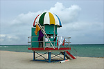 Art Deco Lifeguard Hut.on South Beach Miami, Florida.08-26-2005.Photo by © Fitzroy Barrett 2005.
