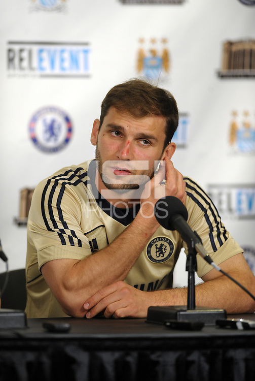 Chelsea F.C training at Busch Stadium, St Louis ahead of the friendly game verus Manchester City..Branislav Ivanovic pre practice press conference.