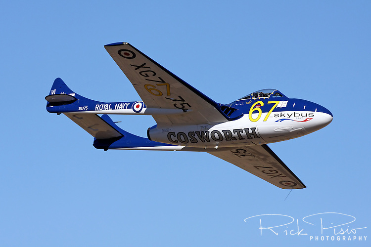 British built de Havilland Vampire in flight during a Jet Class race at the 2010 National Championship Races in Reno, Nevada. The prototype of the Vampire first flew in 1943 and a production version first took flight in 1945. The aircraft flew with front line RAF squadrons until 1955.