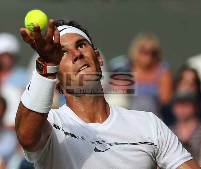 Rafael Nadal(ESP) in action against Karen Khachanov (RUS) during the Men's Singles Third Round Wimbledon Championships 2017, Day 5, All England Lawn Tennis Club, London UK  07 July 2017